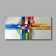 Stretched (Ready to hang) Hand-Painted Oil Painting 100cmx50cm Canvas Wall Art Modern Abstract Yellow Blue
