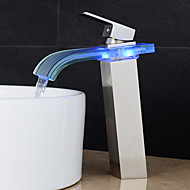 Contemporary Nickel Brushed Glass Spout LED Waterfall Bathroom Sink Faucet