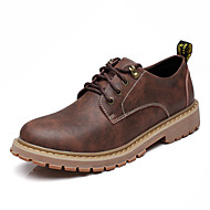 メンズ 靴 レザー 春 夏 秋 冬 コンフォートシューズ オックスフォードシューズ 編み上げ 用途 カジュアル グレー イエロー Brown