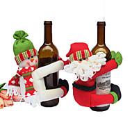 2個のワインボトルは、ボトルのクリスマスの贈り物赤新しい年の家の装飾のためのセットクリスマスパーティーサンタクロースキャップの服をカバー
