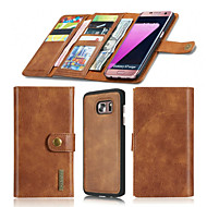 cheap -For Samsung Galaxy S7 Edge S7 Case Wallet Genuine Leather Case Solid Color