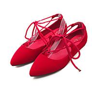 baratos Sapatos de Tamanho Pequeno-Mulheres Sapatos Flanelado Primavera / Verão Conforto / Tira no Tornozelo Rasos Caminhada Sem Salto Dedo Apontado Cadarço Preto /
