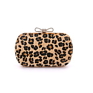 Women Bags Suede Other Leather Type Evening Bag Fur for Wedding Event/Party Formal All Seasons Leopard Light Green Light gray