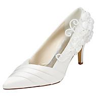baratos Sapatos Femininos-Mulheres Sapatos Cetim com Stretch Primavera / Outono Saltos Salto Agulha Dedo Apontado Apliques Branco / Ivory / Casamento