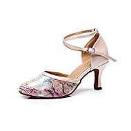 baratos Sapatilhas de Dança-Mulheres Sapatos de Dança Latina Couro Sandália Estampa Animal Salto Agulha Personalizável Sapatos de Dança Preto / Bege / Azul / Interior / Espetáculo / Ensaio / Prática / Profissional