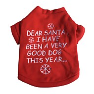 Kat Hund T-shirt Hundetøj Snefnug Rød Bomuld Kostume For kæledyr Herre Dame Nytår Jul