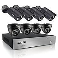 zosi®hd DVR מערכת טלוויזיה במעגל סגור 720p 8ch 8pcs 1200tvl מערכת מצלמת אבטחה וידאו חוצות עמיד ir