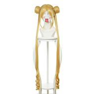 Γυναικείο Συνθετικές Περούκες Χωρίς κάλυμμα Μακρύ Ίσια Κίτρινο Στη μέση Με αφέλειες Με αλογοουρά Περούκα άνιμε Απόκριες Περούκα Καρναβάλι