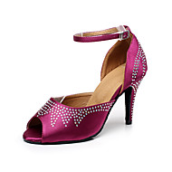 baratos Sapatilhas de Dança-Mulheres Sapatos de Dança Latina / Sapatos de Salsa Cetim Sandália / Salto Pedrarias / Presilha Salto Personalizado Personalizável