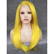 Damen Synthetische Perücken Spitzenfront Glatt Gelb Halloween Perücke Karnevalsperücke Kostüm Perücken