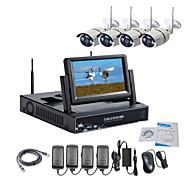 cheap Security Systems-Strongshine® Wireless IP Camera with 960P Infrared Waterproof and NVR with 7 Inch LCD Combo Kits