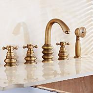 Antik Traditionel Moderne Badekar & Bruser Forskyl Udbredt Messing Ventil Tre Håndtag fem huller Antik Kobber , Badekarshaner