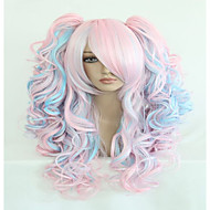 Fashion 70cm Long Blue Mixed Pink Wavy Ponytails High Quality Synthetic Lolita Party Cosplay Wigs