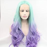 Naisten Synteettiset peruukit Lace Front Luonnolliset aaltoilevat Sininen Cosplay-peruukki Halloween Peruukki Carnival Peruukki Rooliasu