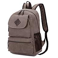 billige Skoletasker-Dame / Unisex Tasker Lærred Skoletaske Ensfarvet Sort / Brun / Kakifarvet