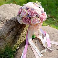 """billiga Brudbuketter-Brudbuketter Bukett Bröllop Fest / afton Taft Spandex Torkad blomma Spets Bergkristall Polyester Satin 11.8""""(Approx.30cm)"""