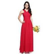 Linha A Decote V Longo Chiffon Vestido de Madrinha com Cruzado Franzido de LAN TING BRIDE®