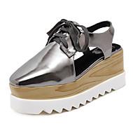 baratos Sapatos Femininos-Mulheres Sapatos Couro Ecológico Verão Chanel Tamancos e Mules Salto Plataforma Ponta quadrada Cadarço Branco / Preto / Prateado