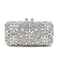 Women Bags All Seasons Metal Evening Bag Crystal/ Rhinestone for Wedding Event/Party Formal Gold Black Silver