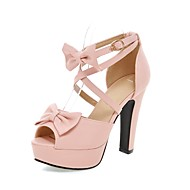 cheap Women's Sandals-Women's Shoes PU(Polyurethane) Summer Comfort / Ankle Strap Sandals Walking Shoes Chunky Heel / Platform / Block Heel Peep Toe Bowknot /