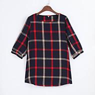 Dame - Farveblok, Flettet Plusstørrelser T-shirt Polyester