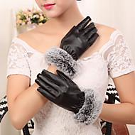kvinder pu kaninpels håndled længde fingerspidser tilføje uld ked sød / fest / afslappet vinter mode varme handsker