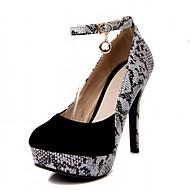 baratos Liquidação de Sapatos-Feminino-SaltosSalto Agulha-Preto Vermelho-Courino-Escritório & Trabalho Casual Social