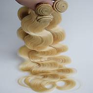 Cabelo Humano Cabelo Brasileiro Precolored Tece cabelo Onda de Corpo Extensões de cabelo 3 Peças Loiro