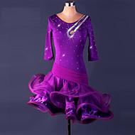 Baile Latino Vestidos Mujer Rendimiento Licra / Organza Volantes / Cristales / Rhinestones Manga 3/4 Cintura Alta Vestido