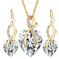 voordelige Sieraden-Dames Sieraden Set Druppel oorbellen Hangertjes ketting Kristal Synthetische Diamant Kristal Hart Liefde Bruids Elegant Europees Bruiloft