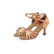 tanie Small Size Shoes-Damskie Buty do latino Satyna Obcas Wstążka Szpilka Brak możliwości personalizacji Buty do tańca Ciemnobrązowy / Nude