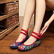 billige Skosalg-Dame Sko Tekstil Vår Sommer Komfort Espadriller brodert sko Flate sko Gange Flat hæl Rund Tå Spenne Blomst til Avslappet utendørs Hvit