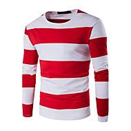 Masculino Camiseta Tamanhos Grandes / Casual / Esportivo Simples Outono / Inverno,Listrado / Colorido Azul / Vermelho / Preto Algodão