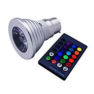 billige Spotlys med LED-1pc 3 W 120 lm E14 / GU10 / B22 LED-spotpærer 1 LED perler Høyeffekts-LED Mulighet for demping / Fjernstyrt / Dekorativ RGB 85-265 V / 1 stk. / RoHs