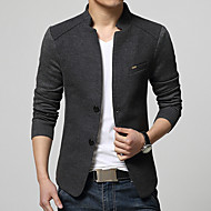 cheap -Men's Daily Street chic Spring / Fall Plus Size Regular Blazer, Solid Colored Stand Long Sleeve Cotton / Acrylic / Polyester Gray / Navy Blue / Wine XL / XXL / XXXL / Business Casual / Slim