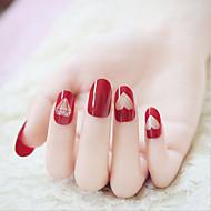 24 peças de unhas fototerapia prego prego lindo grande vinho vermelho diamante terminou manicure
