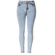 Feminino Skinny Jeans Calças-Cor Única Casual Simples Cintura Alta Botão Poliéster Micro-Elástico Outono / Inverno