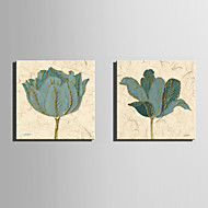 Недорогие -Холст Set Цветочные мотивы/ботанический Европейский стиль,2 панели Холст Квадратная Печать Искусство Декор стены For Украшение дома