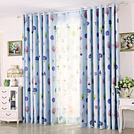 billige Gardiner og draperinger-Propp Topp Et panel Window Treatment Moderne, Trykk Blad Barnerom Poly/ Bomull Blanding Materiale Blackout Gardiner Hjem Dekor