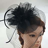 Tulle / Feather / Net Fascinators / Headwear / Birdcage Veils with Floral 1pc Wedding / Special Occasion / Casual Headpiece