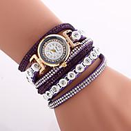 Mulheres Relógio de Moda Bracele Relógio Relógio de Pulso Quartzo Couro PU Acolchoado Preta / Branco / Azul Legal imitação de diamante Colorido Analógico senhoras Amuleto Vintage Casual Boêmio - Azul