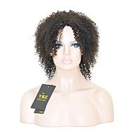 Human Hair Capless Pruiken Zwart Middel Afro Zijdeel