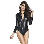 Ženy Ultra sexy Košilka na ramínka Noční prádlo Jednobarevné Spandex Polyester Černá