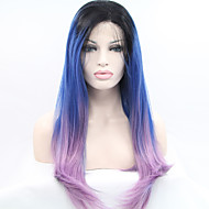 נשים פאות סינתטיות חזית תחרה ארוך ארוך מאוד ישר כחול שיער טבעי פאות תלבושות