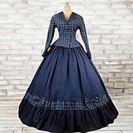 Wiktoriańskie Rococo Kostüm Kadın's Tek-parça Elbiseler Kıyafetler Mavi Eski Tip Cosplay Pamuk Uzun Kollu