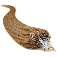 Febay Накладка на микрокольце Расширения человеческих волос Прямой Натуральные волосы Темно-рыжий