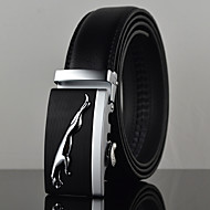 cheap Men's Accessories-Men's Leather Alloy Waist Belt,Black Work Casual