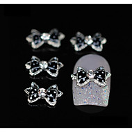 10pcs  Black Dots Bow Tie Rhinestone Alloy Accessories Finger Tips Nail Art Decoration