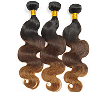 İnsan saç örgüleri Düz Brezilya Saçı Doğal Dalgalar 3 Parça saç örgüleri