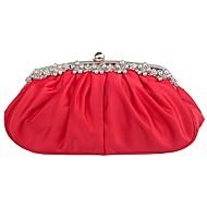 baratos Clutches & Bolsas de Noite-Mulheres Bolsas Cetim Bolsa de Festa Fru-Fru Sólido Vermelho / Rosa claro / Champanhe